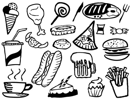 the doodle background with junk foods Vector