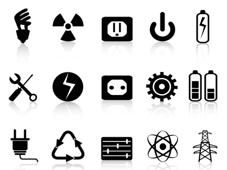 torres de alta tension: aislado eléctrico negro y los iconos de energía establecidos en el fondo blanco Vectores