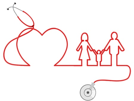the symbol of family Healthcare by stethoscope Illustration