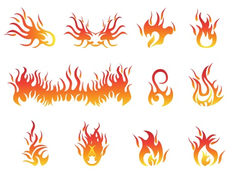 isolated flame symbols from white background Stock Vector - 19083195