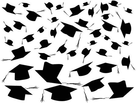fondo de graduacion: el fondo de tirar las tapas de graduación Vectores