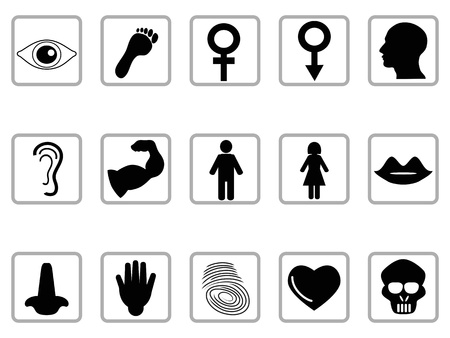 isolated black human feature icons from white background