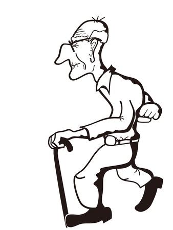 die skizzenhaften Umrisse des alten Mannes