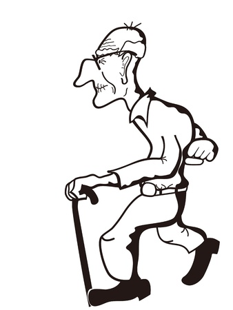 the sketchy outline of old man  Vector