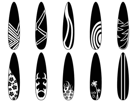 isolated black surfboard icons from white background Stock Vector - 19083172
