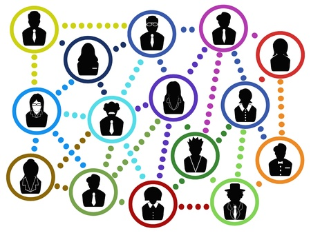 black lady talking: the background of business people communication network   Illustration