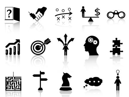 strategy: Iconos de la estrategia de negocios negro aislado conjunto de fondo blanco Vectores