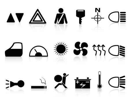 isolated black car dashboard icons set from white background