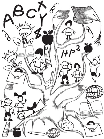 doodle background of school tree and students  Vector