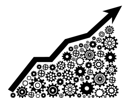 the business moving up graph with gears