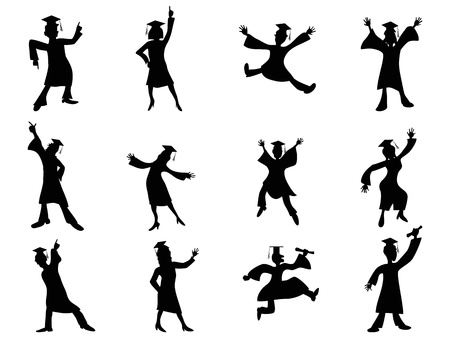 bachelor: isolated happy graduates Silhouette from white background