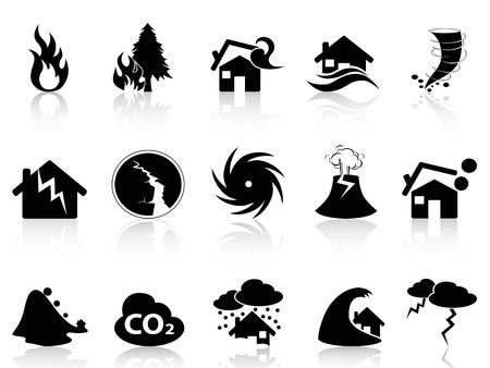 icônes de catastrophe naturelle noir isolé Ensemble de fond blanc