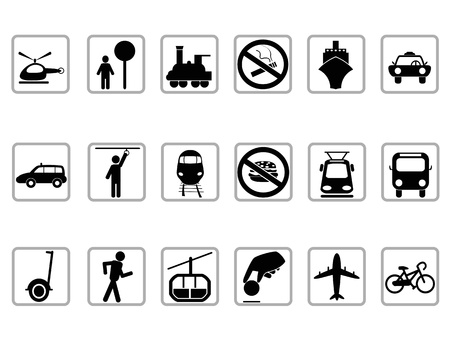 isolated black public transportation buttons on white background Vector