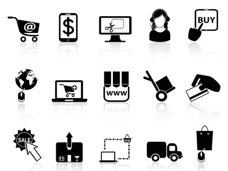 cursor hand: isolated black shopping on-line icons from white background