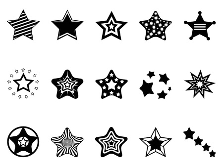 christmas stars: isolated black stars icon collection from white background Illustration