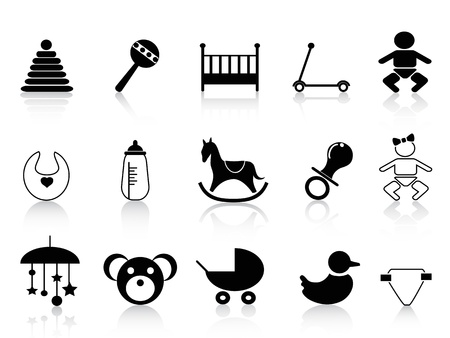 baby goods: isolated black baby icons from white background