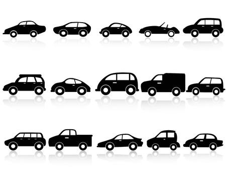 carro caricatura: aislados iconos de la silueta de coches de fondo blanco