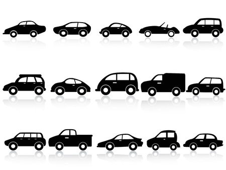 car side view: isolated car silhouette icons from white background