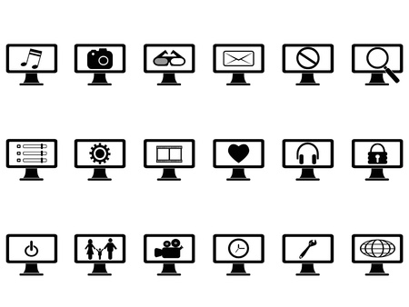 isolated computer monitor with icons set on white background Vector