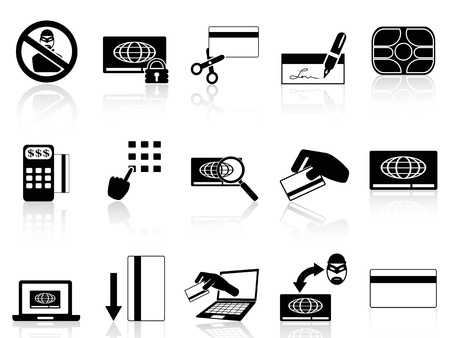 dieven: geïsoleerde creditcard begrip pictogrammen instellen van een witte achtergrond
