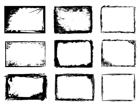 isolated 9 different types of grunge frames on white background