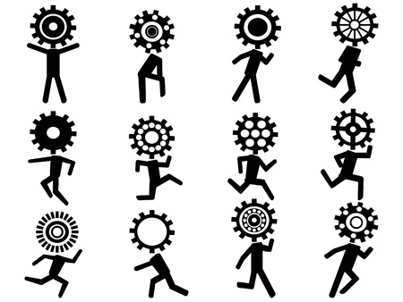 gear head: isolated human with gear head icons on white background