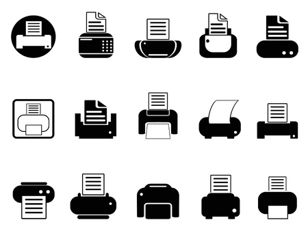 simple black printer icons set on white background Stock Vector - 19746126