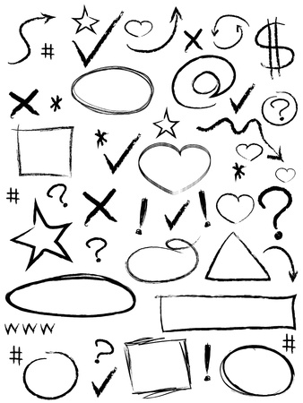 isolated scribble design elements from white background Stock Illustratie
