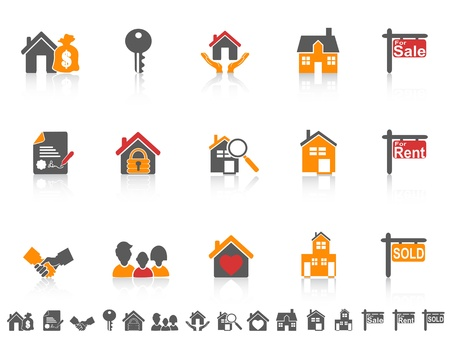 isolated simple color real estate icon on white background Vector