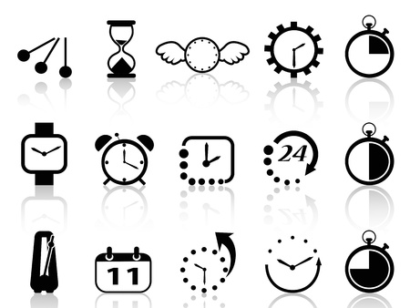 isolated time concept icons set on white background Stock Vector - 19746129