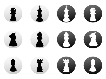 chess move: isolated chess icon buttons on white background Illustration