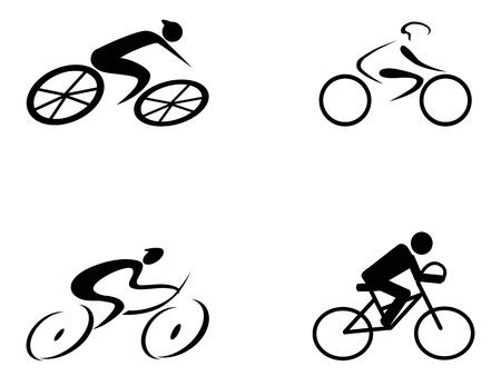 ciclista: cuatro estilos diferentes de iconos ciclista en el fondo blanco