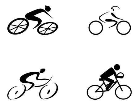 four different style of cyclist icons on white background  Çizim