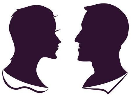 geïsoleerde man en vrouwelijke profiel silhouet op een witte achtergrond