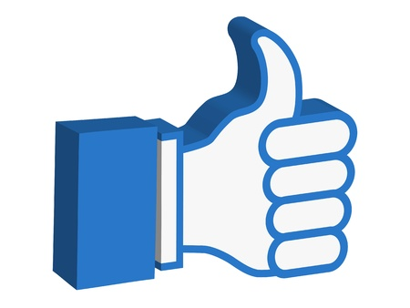 isolated 3d thumbs up icon on white background Vector