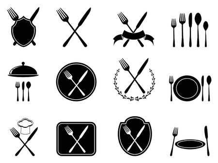 knife and fork: isolated eating utensils icons set from white background  Illustration