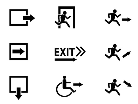 emergency exit sign icon: the collection of black exit icons on white backgrouund   Illustration