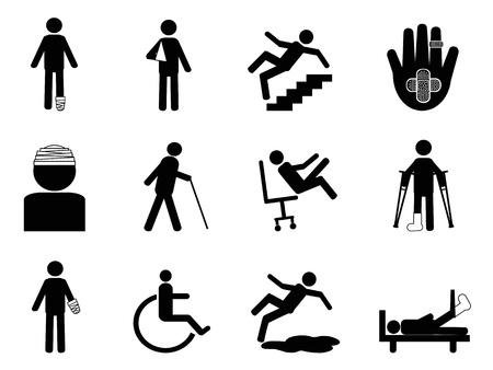 falling down: isolated Injury icons set from white background