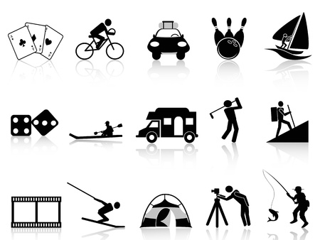 people hiking: the collection of Leisure and Recreation icons on white background   Illustration