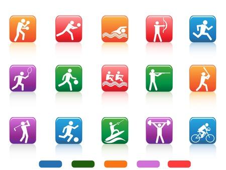 白い背景の上のスポーツ人々 色付きのボタンのコレクション  イラスト・ベクター素材