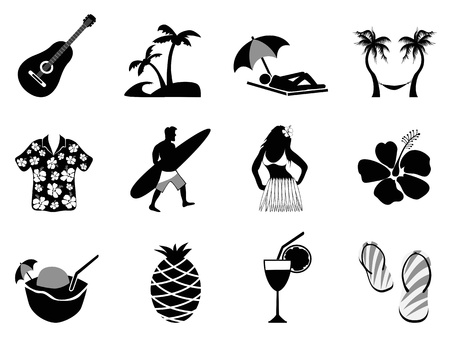 woman with umbrella: the collection of tropical island and beach vacation icons on white background