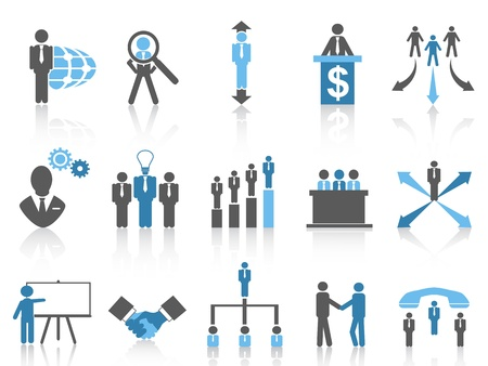 business training: isolated blue Business and Management Icons from white background Illustration