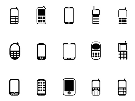isolated Mobile phone icons from white background Stock Illustratie