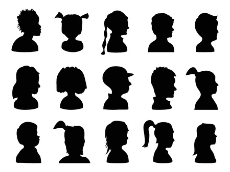 boy long hair: isolated Children Profile Silhouettes from white background