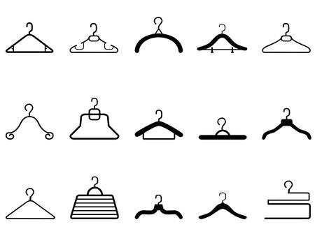 tienda de ropas: aislado icono de perchas de ropa en el fondo blanco
