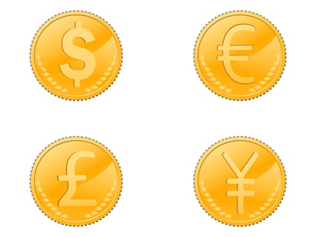 one us dollar coin: isolated four different coins symbol on white background   Illustration