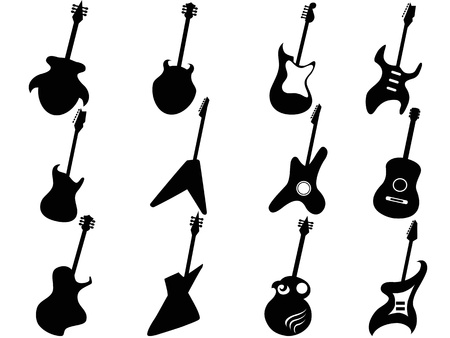 stratocaster: isolated Guitar Silhouettes from white background
