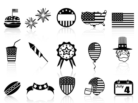 isolated Fourth of July icons set on white background