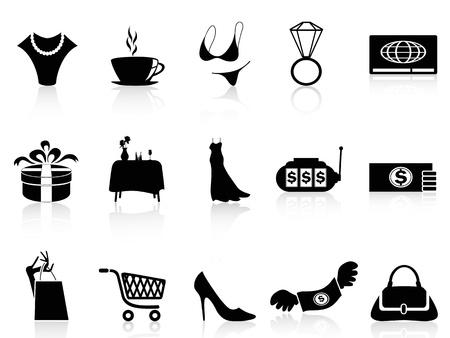 panties: iconos de compras de lujo negro aislado conjunto de fondo blanco
