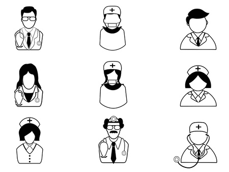 isolated medical people icons on white background